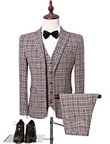 cheap -Men's Wedding Suits 3 pcs Shawl Collar Tailored Fit Single Breasted Two-buttons Patch Pocket Checkered Cotton