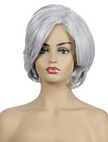 cheap -Women Wig Grey White Ombre Synthetic Short Layered Curly Hair Puffy Bangs Heat Resistant