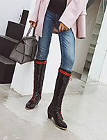cheap -Women's Boots Chunky Heel Round Toe Knee High Boots Daily Work Patent Leather Lace-up Solid Colored Black