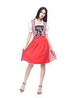 cheap -Oktoberfest / Beer Dress Cosplay Costume Adults' Women's Maid Uniforms More Uniforms Festival Oktoberfest Beer Festival / Holiday Terylene Red Women's Easy Carnival Costumes Plaid / Check / Apron