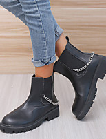 cheap -Women's Boots Block Heel Round Toe PU Solid Colored White Black
