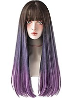 cheap -Hair Dye Wig for Women Synthetic Hair Natural Long Straight Wig with Bangs (22Inch, Purple)