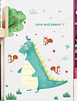 cheap -cartoon character harmony forest dinosaur squirrel playing children's room door entrance decoration background wall sticker