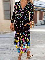 cheap -Women's Shift Dress Maxi long Dress human face Blue Yellow Grey color White Black Red Long Sleeve Floral Polka Dot Plants Zipper Pocket Fall Winter V Neck Vintage Zipper Front 2021 S M L XL XXL 3XL