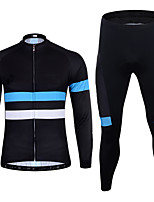 cheap -21Grams Men's Long Sleeve Cycling Jersey with Tights Spandex Bule / Black Stripes Bike Quick Dry Moisture Wicking Sports Stripes Mountain Bike MTB Road Bike Cycling Clothing Apparel / Stretchy