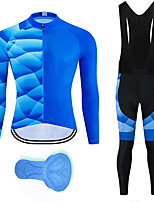 cheap -21Grams Men's Long Sleeve Cycling Jersey with Bib Tights Summer Spandex Polyester Blue 3D Funny Bike Clothing Suit 3D Pad Quick Dry Moisture Wicking Breathable Back Pocket Sports 3D Mountain Bike MTB