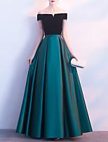 cheap -A-Line Minimalist Elegant Wedding Guest Formal Evening Dress Off Shoulder Short Sleeve Floor Length Stretch Satin Velvet with Sash / Ribbon 2021