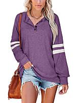cheap -Women's T shirt Striped Long Sleeve Button V Neck Basic Tops Regular Fit Blue Purple Gray