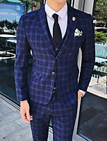 cheap -Men's Wedding Suits 3 pcs Notch Tailored Fit Single Breasted Two-buttons Patch Pocket Checkered Cotton