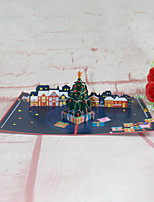 cheap -2021 new christmas christmas tree night city 3d three-dimensional greeting card paper carving paper-cut hollow happy new year card