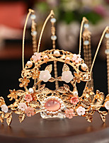cheap -1 Piece Antique Hair Crown Set Hairpin Classic Bride Crown Wei Jin Han Clothes Headdress Ancient Assembly Jewelry