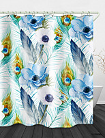 cheap -Watercolor flower Feather Printed Waterproof Fabric Shower Curtain Bathroom Home Decoration Covered Bathtub Curtain Lining Including hooks.