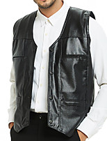 cheap -Men's Vest Daily Fall Winter Regular Coat Regular Fit Thermal Warm Sporty Jacket Sleeveless Solid Color Quilted Black