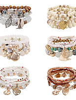 cheap -6pcs Women's Chain Bracelet Bead Bracelet Wrap Bracelet Layered Totem Series Natural Casual / Sporty Sweet Boho Natural Crystal Bracelet Jewelry Rainbow For Gift Prom Club
