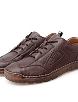cheap -Men's Sneakers Lace up Sporty Look Leather Shoes Business Casual Classic Daily Outdoor Leather Non-slipping Shock Absorbing Wear Proof Black Brown Fall Winter