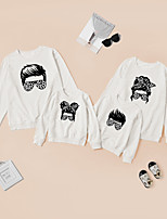 cheap -Tops Family Look Leopard Daily Print Gray White Long Sleeve Daily Matching Outfits / Fall / Winter / Cute