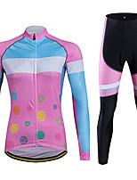 cheap -21Grams Women's Long Sleeve Cycling Jersey with Tights Spandex Polyester Pink Patchwork Funny Bike Clothing Suit 3D Pad Quick Dry Moisture Wicking Breathable Back Pocket Sports Patchwork Mountain