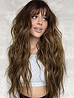 cheap -Brown Wig with Bangs Wavy Long Wigs for Women Ombre Brown Wigs Heat Resistant Synthetic Hair for Daily Party 26 Inches
