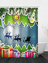 cheap -Christmas Shower Curtain Bathroom Decoration Waterproof Contains With Hook Tree Snowman Gift