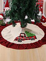 cheap -122cm Christmas Tree Skirt Bottom Decoration Christmas Tree Apron Linen Red And Black Plaid Lace Tree Skirt
