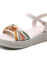 cheap -Women's Sandals Flat Heel Open Toe Daily Canvas Linen Color Block Black Beige