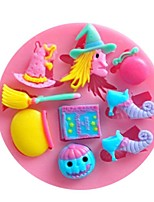 cheap -Halloween Molds Party Sugar Silicone Mold Cake Decorating Tools Hat Pumpkin Witch Pastry Baking Polymer Clay Kitchen Bakeware