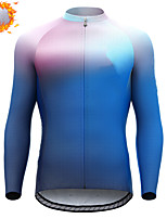 cheap -CAWANFLY Men's Long Sleeve Cycling Jersey Cycling Jacket Winter Blue Sky Blue Geometic Bike Tracksuit Winter Jacket Top Thermal Warm Fleece Lining Sports Clothing Apparel / Micro-elastic / Athleisure