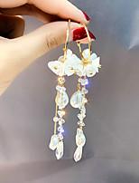 cheap -Women's Earrings Long Flower Shape Sweet Pearl Earrings Jewelry Gold For Wedding Street Gift Daily Festival 1 Pair