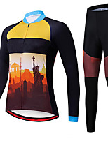 cheap -21Grams Women's Long Sleeve Cycling Jersey with Tights Spandex Polyester Black / Yellow Funny Bike Clothing Suit 3D Pad Quick Dry Moisture Wicking Breathable Back Pocket Sports Nature & Landscapes