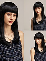 cheap -Synthetic Wig kinky Straight Bob Hair With Bangs Wig for Women Daily Use Heat Resistant Cool Classic Black Brown Free Cap