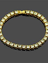 cheap -Men's Tennis Bracelet Bracelet 3D Precious Fashion Rhinestone Bracelet Jewelry Golden For Christmas Party Wedding Street Daily / Gold Plated