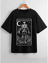 cheap -Women's Halloween T shirt Skull Round Neck Basic Tops Black