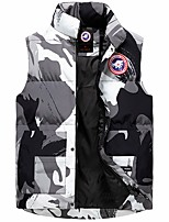 cheap -Men's Vest Gilet Street Daily Going out Fall Winter Regular Coat Regular Fit Thermal Warm Windproof Casual Jacket Sleeveless Solid Color Camo / Camouflage Pocket Blue Gray Khaki