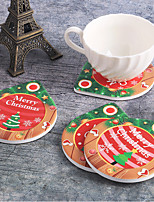 cheap -Christmas Gift Ceramic Coasters Christmas Decoration Christmas Tree Snowflake Decoration