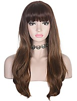 cheap -Long Wavy Wig with Bangs for Women Heat Resistant Synthetic Hair Natural Looking for Daily Use (Ombre Ash Brown)