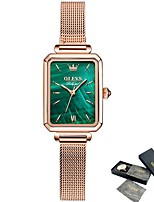 cheap -Square ultra-thin quartz ladies watch waterproof rose gold blue dial leather and Milan strap elegant ladies watch OLEVS 6624
