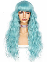 cheap -Simulated Scalp Wave Bang Blue Wig High Heat Resistant Hair Cosplay Party Synthetic Machine Made Daily Women Wigs