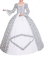 cheap -Ball Gown Elegant Vintage Halloween Quinceanera Dress Square Neck Long Sleeve Floor Length Satin with Lace Insert Pattern / Print 2021