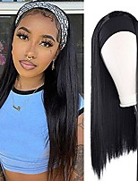 cheap -Headband Wig Synthetic Straight Hair Long Black Wigs 22 Inch High Temperature Hair Headband Wig for Daily Party Use (Natural Black)