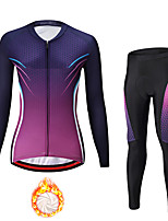 cheap -21Grams Women's Long Sleeve Cycling Jersey with Tights Winter Fleece Spandex Purple Green Gradient Bike Quick Dry Moisture Wicking Sports Gradient Mountain Bike MTB Road Bike Cycling Clothing Apparel
