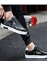 cheap -Men's Sneakers Lace up Comfort Shoes Casual Classic Chinoiserie Daily Outdoor PU Waterproof Non-slipping Height-increasing Black and White Black and Dark Gray Black / White Fall