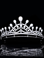 cheap -Princess Baroque Pearl Crown Baby Bride Married Zircon Crown Wedding Hair Headdress