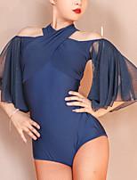 cheap -Latin Dance Leotard / Onesie Solid Splicing Women's Training Performance 3/4 Length Sleeve Polyester