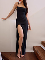 cheap -Sheath / Column Minimalist Sexy Holiday Party Wear Dress Spaghetti Strap Scoop Neck Sleeveless Floor Length Spandex with Sleek Split 2021