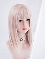 cheap -Synthetic Wig Natural Straight Neat Bang Wig Short Black Pink Blonde Synthetic Hair Women's Cosplay Soft Party Pink Black