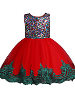 cheap -Kids Little Girls' Dress Sequin Party Special Occasion Mesh Bow Yellow Wine Green Above Knee Sleeveless Princess Cute Dresses Children's Day Fall Winter Slim 3-10 Years / Spring / Summer
