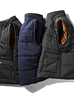 cheap -Men's Vest Gilet Street Daily Winter Short Coat Regular Fit Warm Lightweight Breathable Casual Jacket Sleeveless Solid Color Full Zip Dark Grey Blue Black