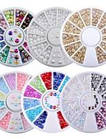 cheap -6 Box Mix Sizes 3D AB Rhinestone Crystal Glitter Bead Pearl Wheel Nail Art Tips Jewelry Decoration DIY Manicure Accessories Tool