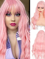 cheap -Pure Pink Long Body Wave Hairstyle Wigs Synthetic Hair Heat Resistant For Women African American Cosplay Lolita Wig