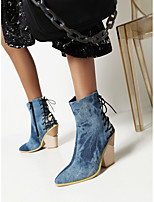 cheap -Women's Boots Chunky Heel Pointed Toe Booties Ankle Boots Daily Work Microfiber PU Lace-up Solid Colored Blue Pink Black / Booties / Ankle Boots